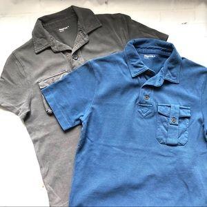 Pair of Gap Boys Medium Gray & Blue Polos